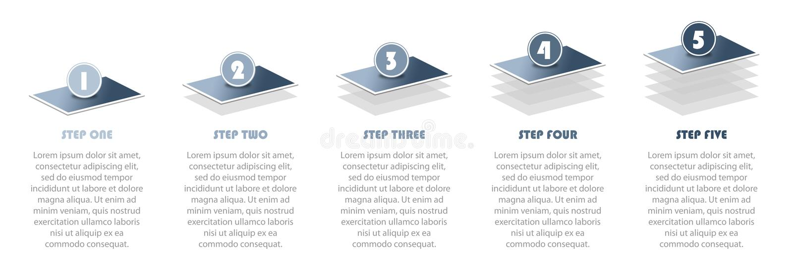 Numbered 5 step infographic illustration showing project progress info graphic vector illustration