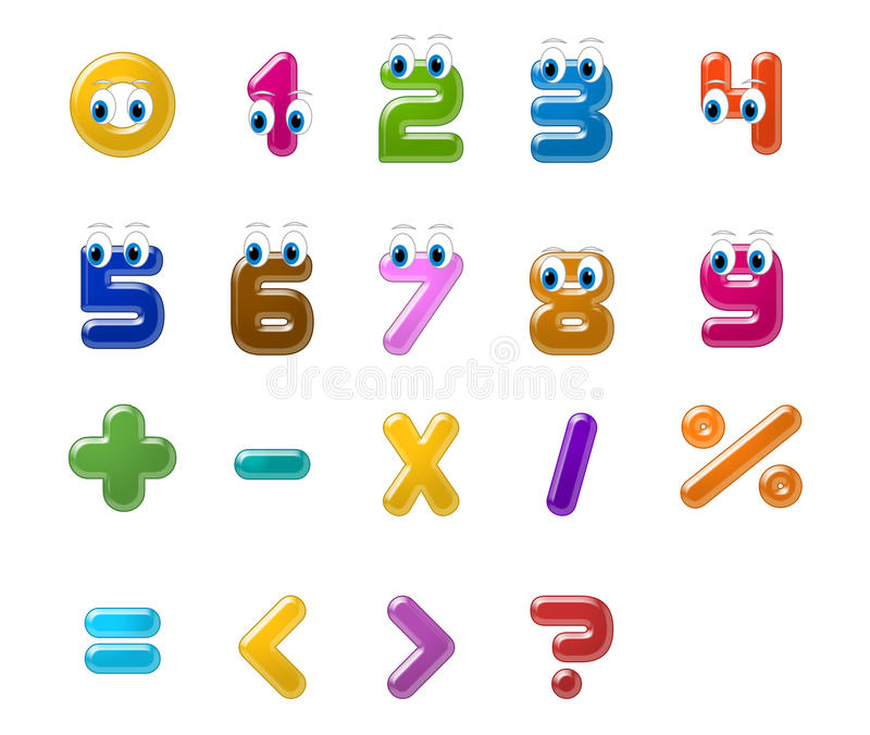 Numbers. And maths symbols.educational or preschool books for kids royalty free illustration