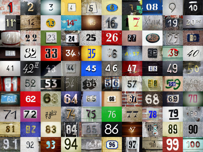 Numbers. Set of colorful numbers from 1 to 100