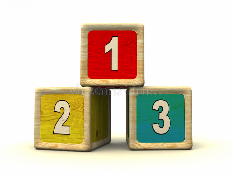 Numbers. On wooden cubes vector illustration