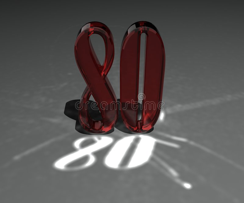 Numbers. 3d made number 80 in glass vector illustration