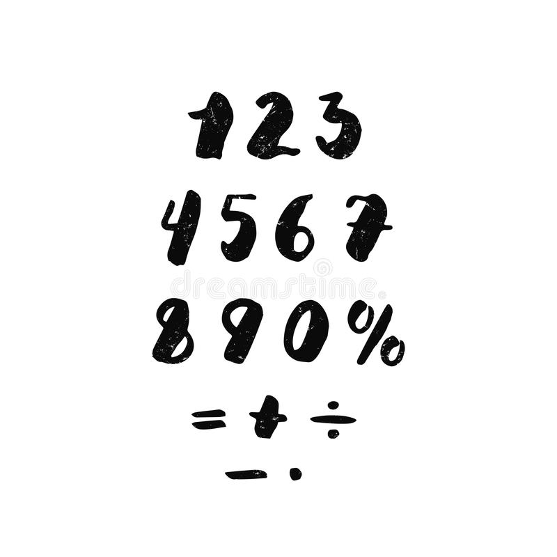 Numbers and arithmetic signs ink handwritten textured lettering. Hipster and vintage style. vector illustration