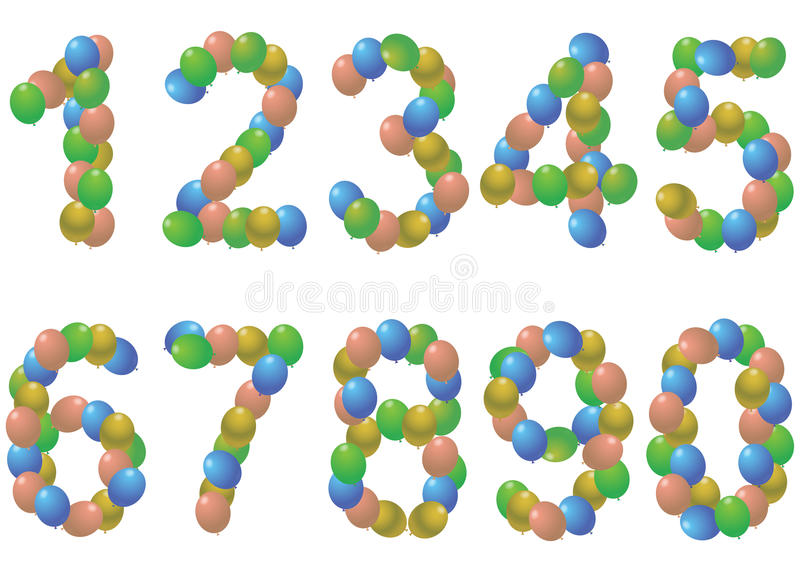 Numbers balloons royalty free illustration