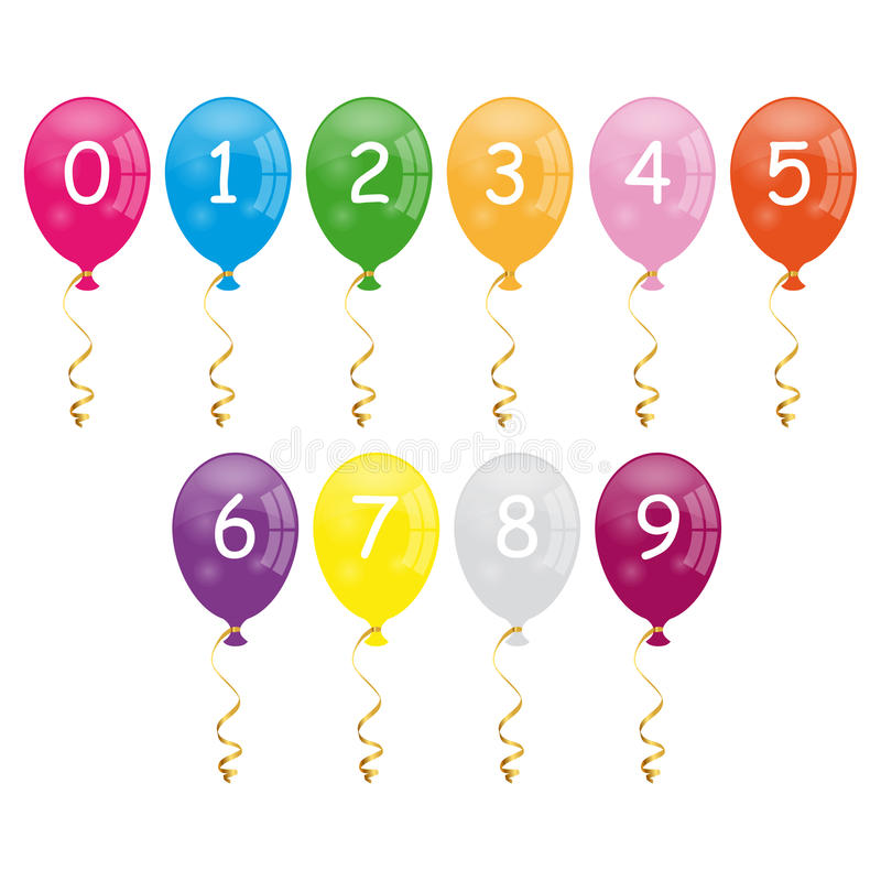 Numbers balloons. Colorful cartoon numbers balloons isolated on white background. Eps file available vector illustration