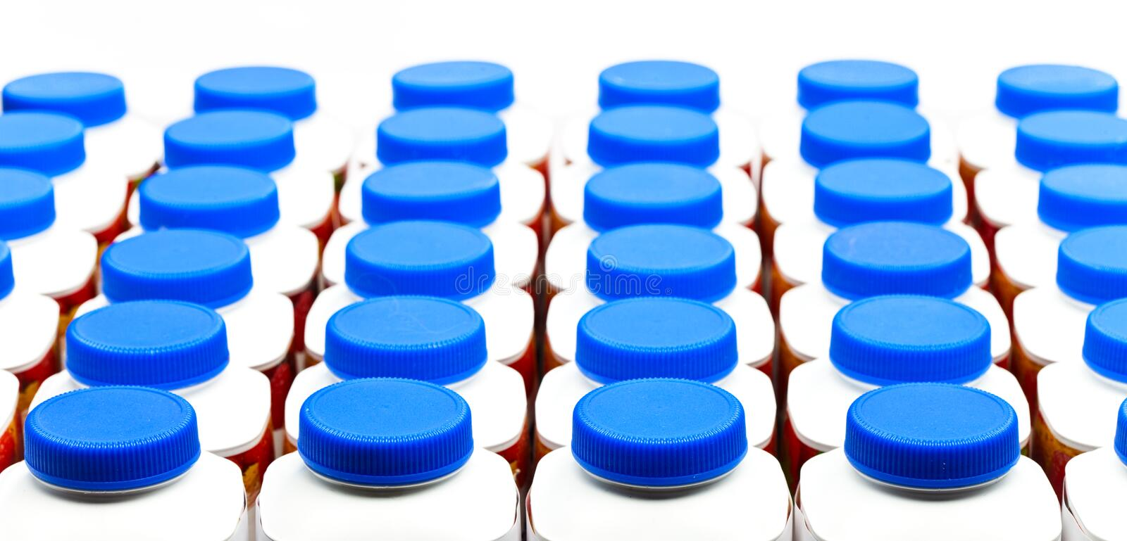 Download Numbers Of Bottles From Under Yogurt Royalty Free Stock Images - Image: 19838189