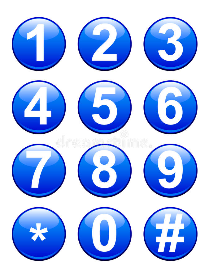 Numbers Buttons. A set of glossy blue numbers buttons from 0-9 including the hash key and asterisk. Available in vector EPS format