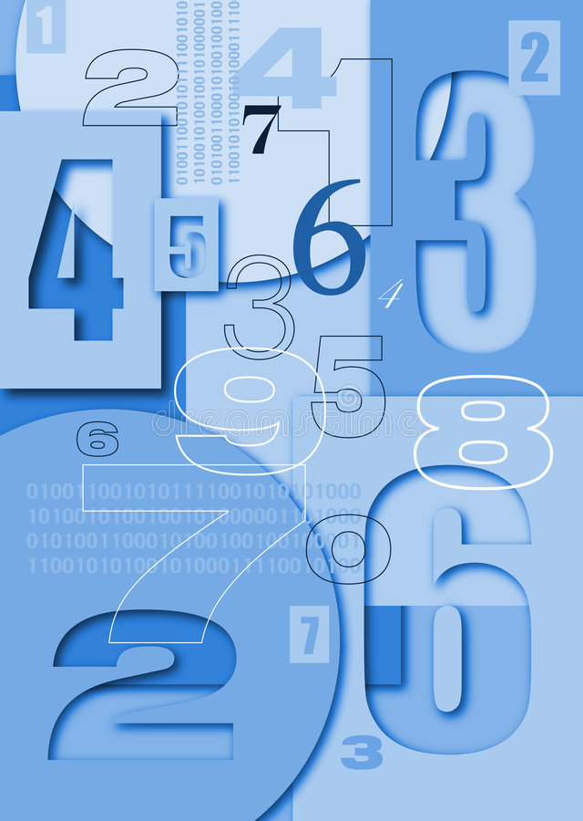 Numbers characters on the volume background stock illustration