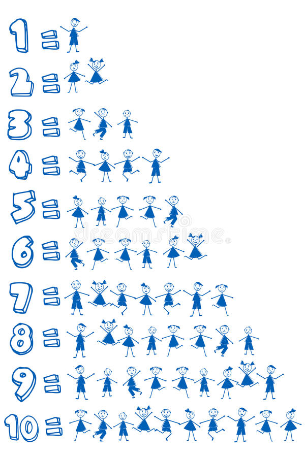 Numbers and children for school. Blue numbers and children for school royalty free illustration