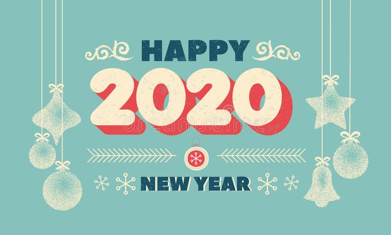 Numbers 2020 Christmas New Year lettering clip art with christmas ball Vintage poster or greeting card. Vector Happy New Year vector illustration