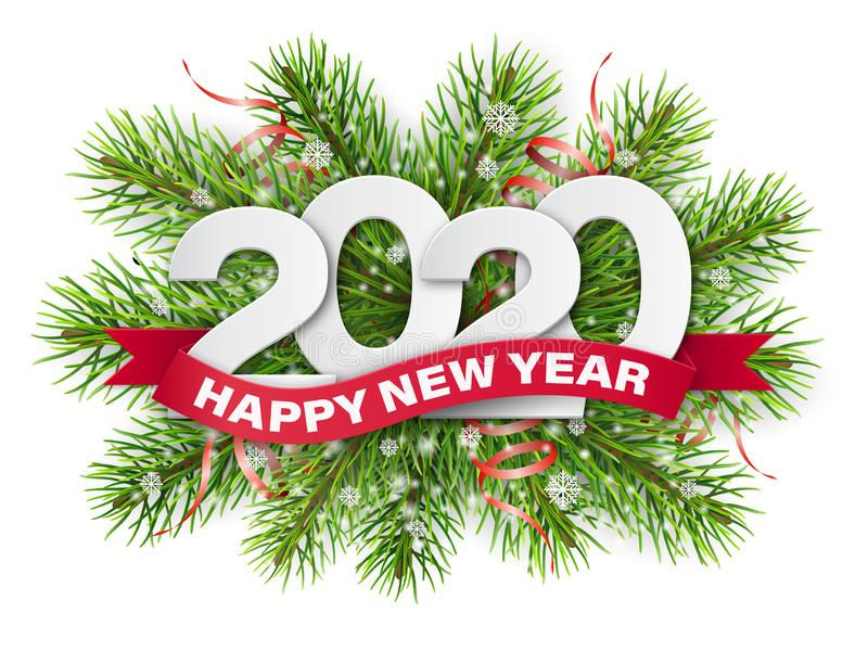 2020 numbers on christmas tree branches stock image