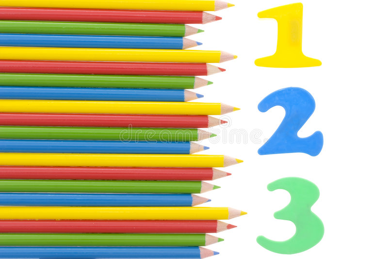 Numbers with a color pencils stock photography