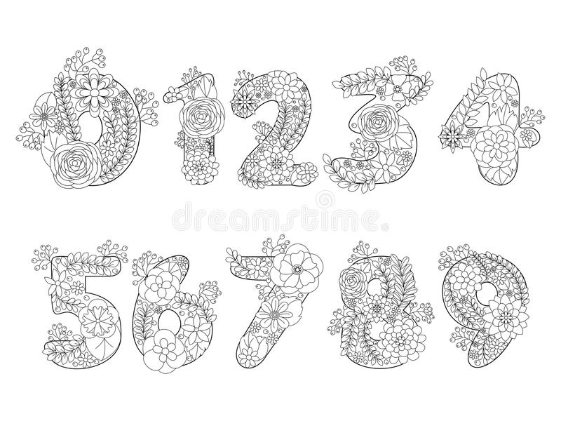 Download Numbers Coloring Book For Adults Vector Stock