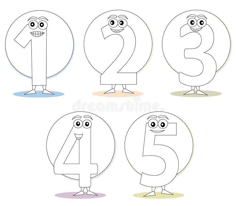 Numbers for coloring books, part 1 stock images