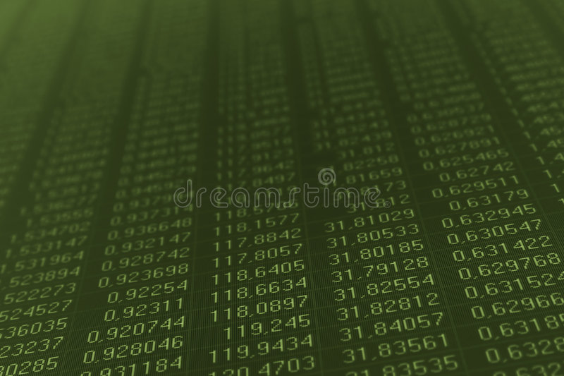 Numbers on a computer monitor stock image