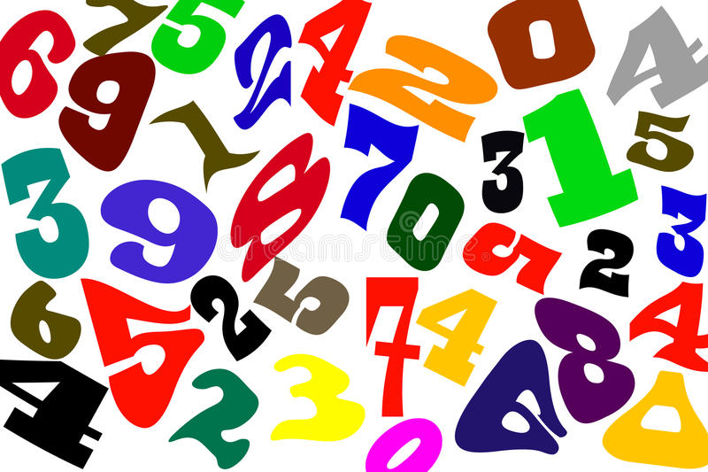 The numbers of different fonts on a white background.  royalty free illustration