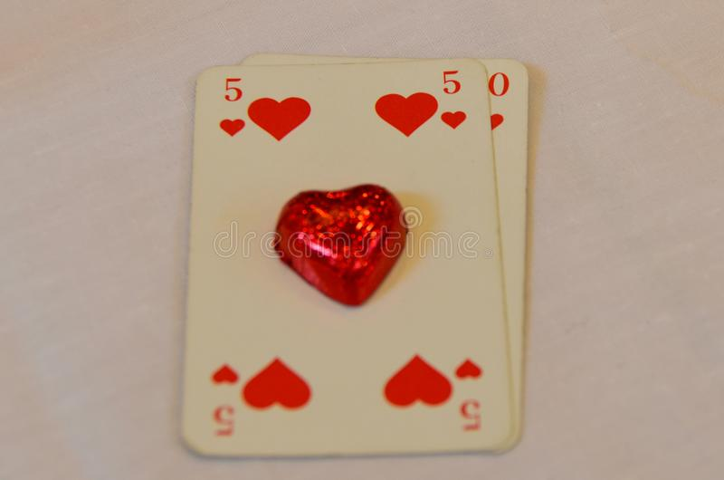 50 heart play chocolate card royalty free stock photo