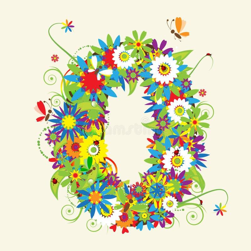 Numbers, floral design. vector illustration