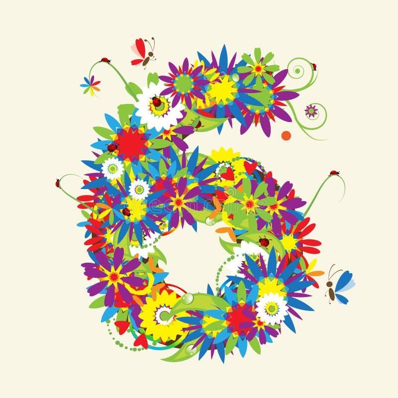 Numbers, floral design. royalty free illustration