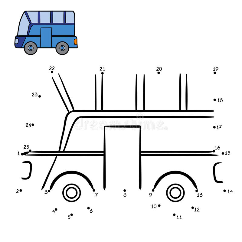 Numbers game, Bus. Numbers game, education dot to dot game for children, Bus vector illustration