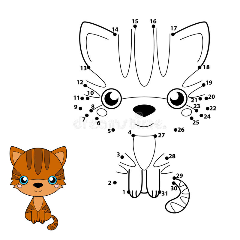 Numbers game for children: brown cat royalty free illustration