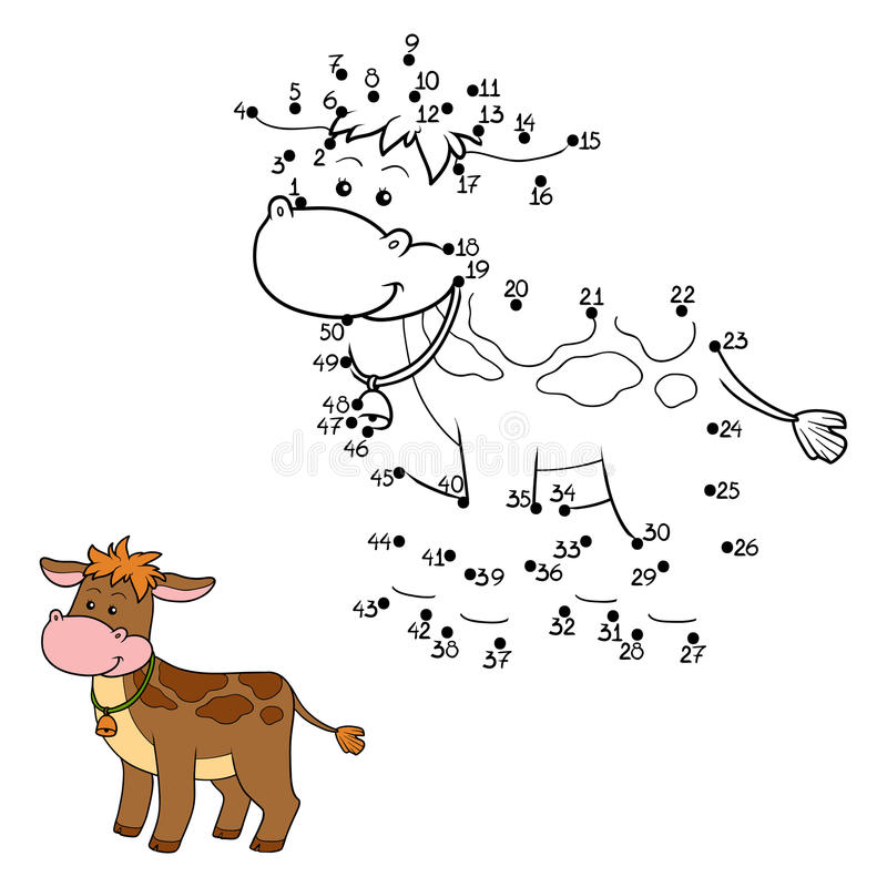 Numbers game. Game for children: Numbers game (calf stock illustration