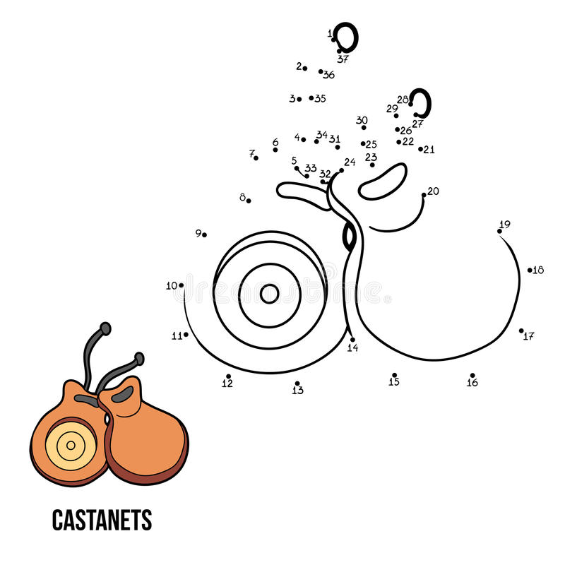 Numbers game for children: musical instruments (castanets) stock illustration