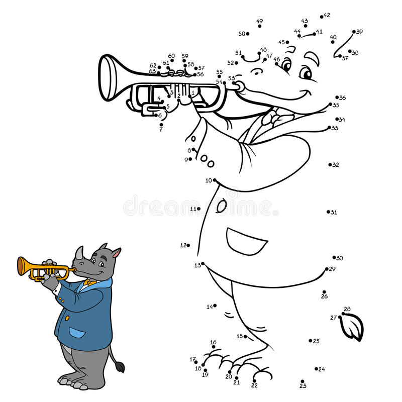 Numbers game for children: rhino and trumpet. Numbers game for children: music band (rhino and trumpet stock illustration