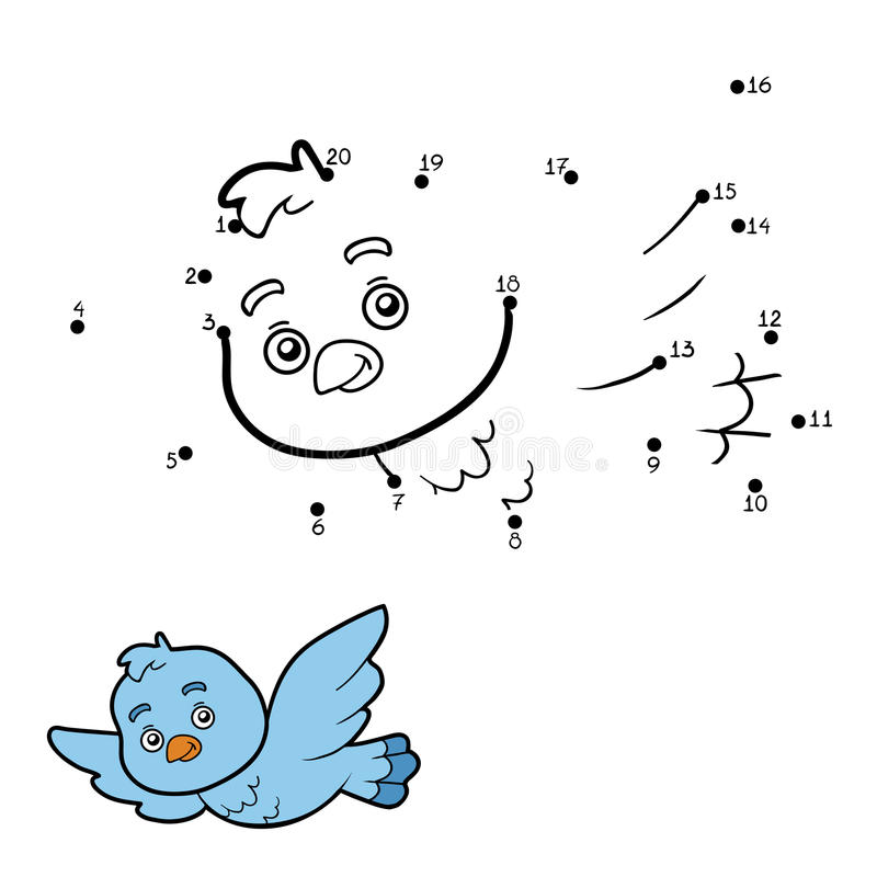 Numbers game, dot to dot (bird) vector illustration