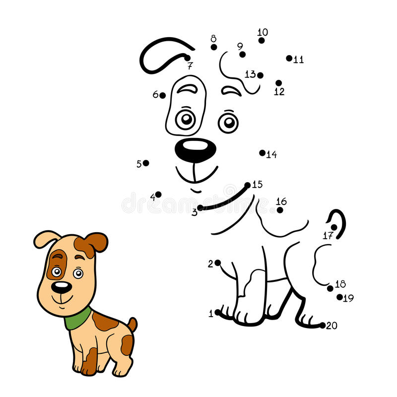 Numbers game, dot to dot (dog). Numbers game, education game for children, dot to dot game (dog vector illustration