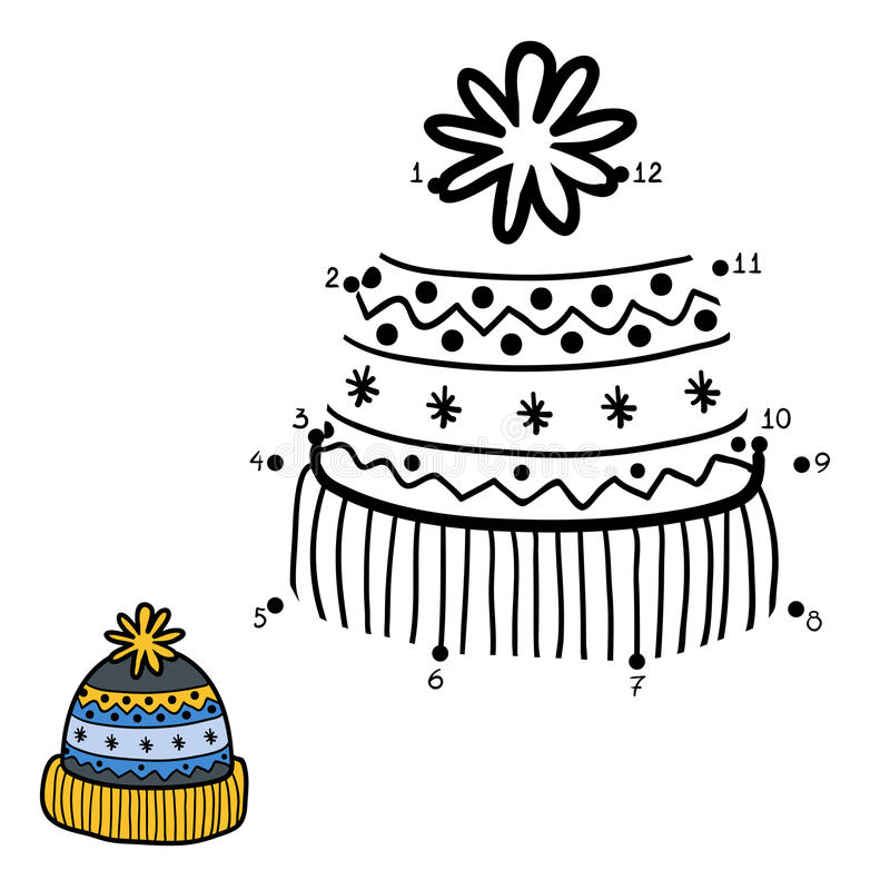 Free Numbers Game, Dot To Dot, Hat With Winter Ornament Royalty Free Stock Images - 69442379