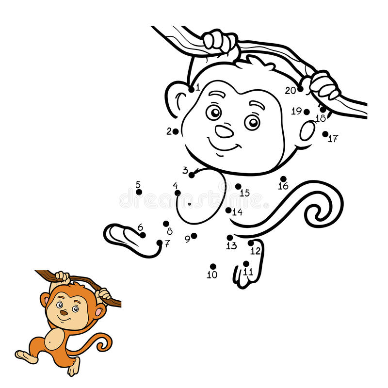 Numbers game, dot to dot (monkey) stock illustration