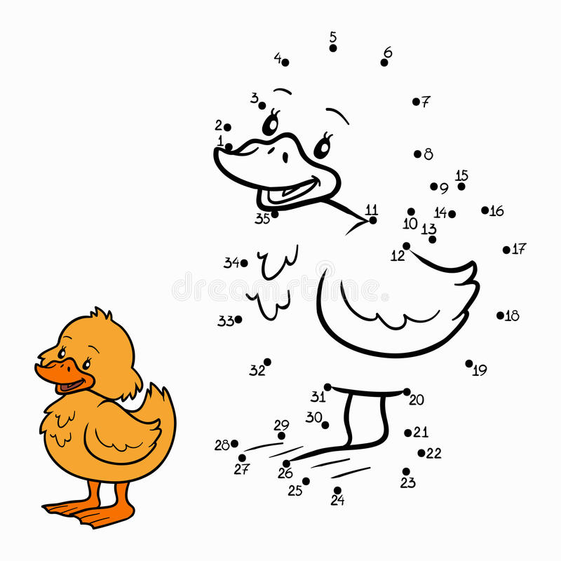 Numbers game (duck) vector illustration