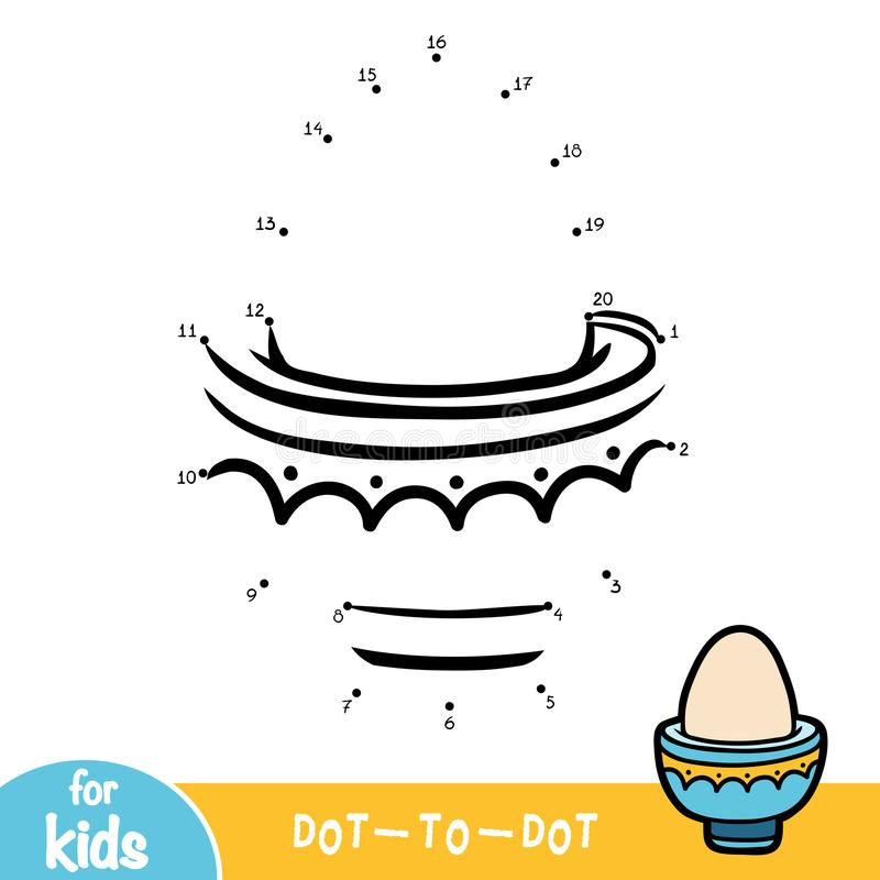Numbers game, education dot to dot game, Boiled egg in eggcup royalty free illustration