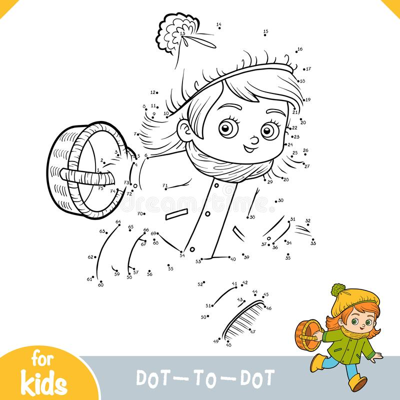 Numbers game, education dot to dot game. Cartoon little girl with a basket for mushrooms. Numbers game, education dot to dot game for children, Cartoon little vector illustration
