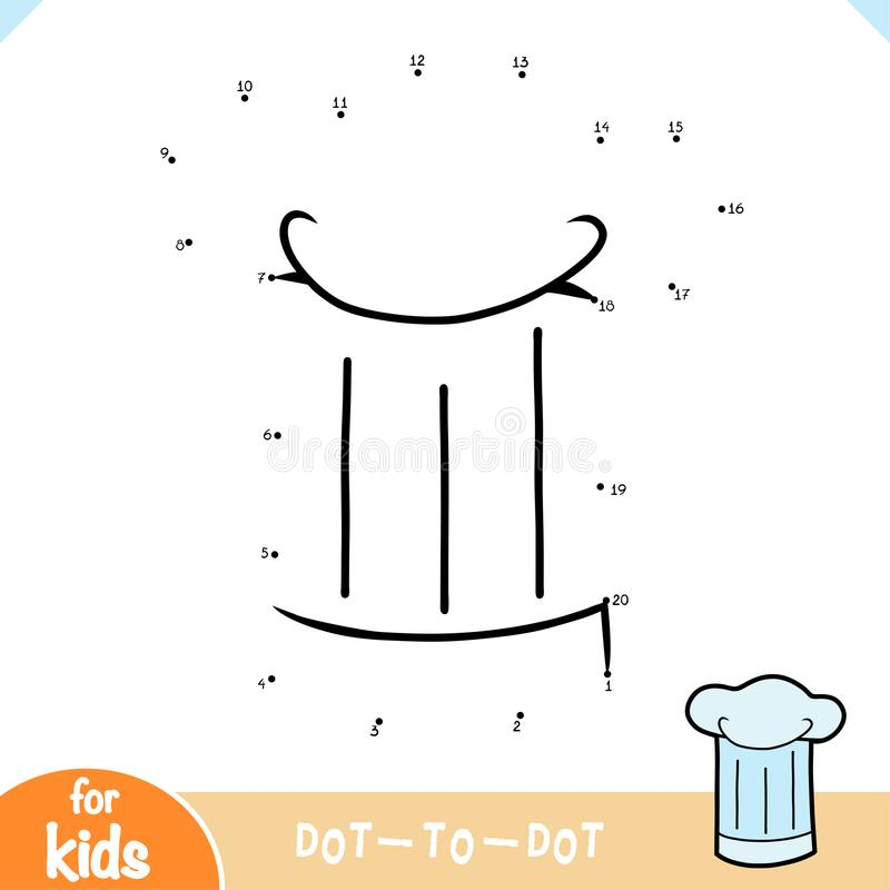 Numbers game, education dot to dot game, Chef's hat stock illustration