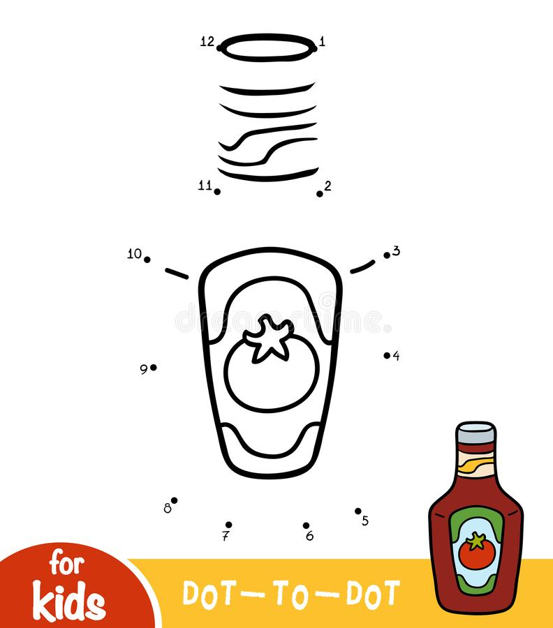 Numbers game, dot to dot game for children, bottle of ketchup. Numbers game, education dot to dot game for children, bottle of ketchup royalty free illustration