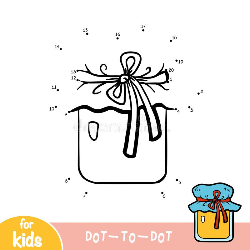 Numbers game, dot to dot game for children, Jar of honey stock illustration