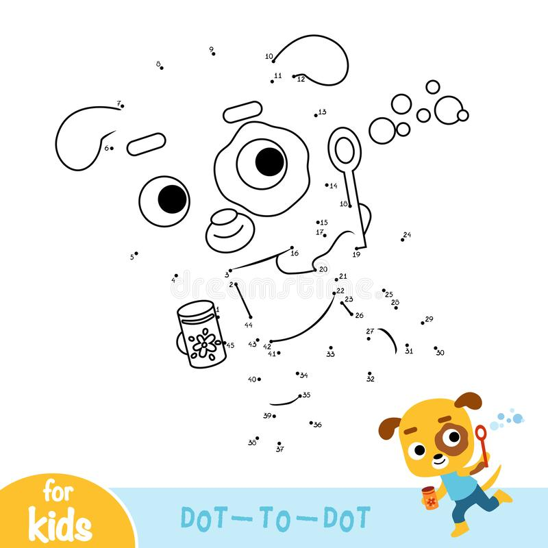 Numbers game, education dot to dot game, dog and soap bubbles. Numbers game, education dot to dot game for children, dog and soap bubbles royalty free illustration