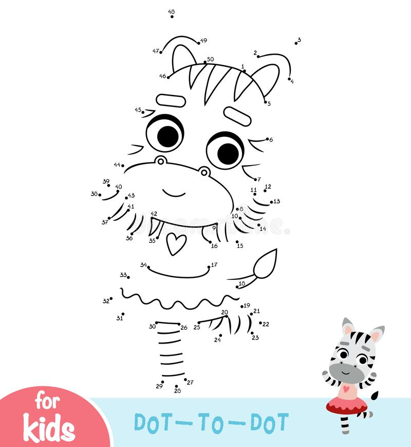 Numbers game, education dot to dot game, dancing Zebra vector illustration
