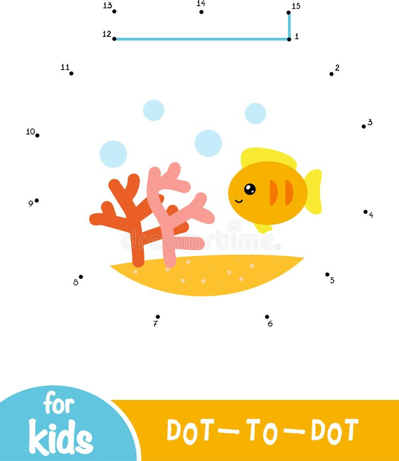 Numbers game, dot to dot game for children, Goldfish in a bowl. Numbers game, education dot to dot game for children, Goldfish in a bowl royalty free illustration