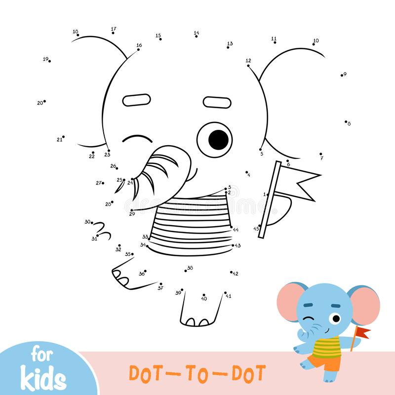 Numbers game, education dot to dot game, Elephant and a flag royalty free illustration