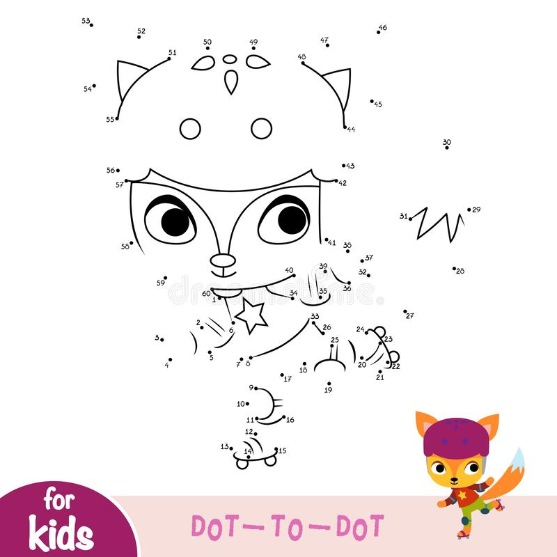 Numbers game, education dot to dot game, Fox on roller skates stock illustration