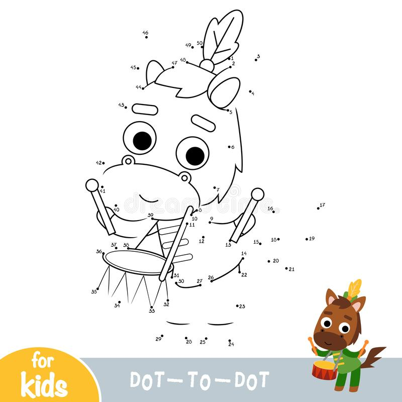 Numbers game, education dot to dot game, Horse drummer. Numbers game, education dot to dot game for children, Horse drummer royalty free illustration