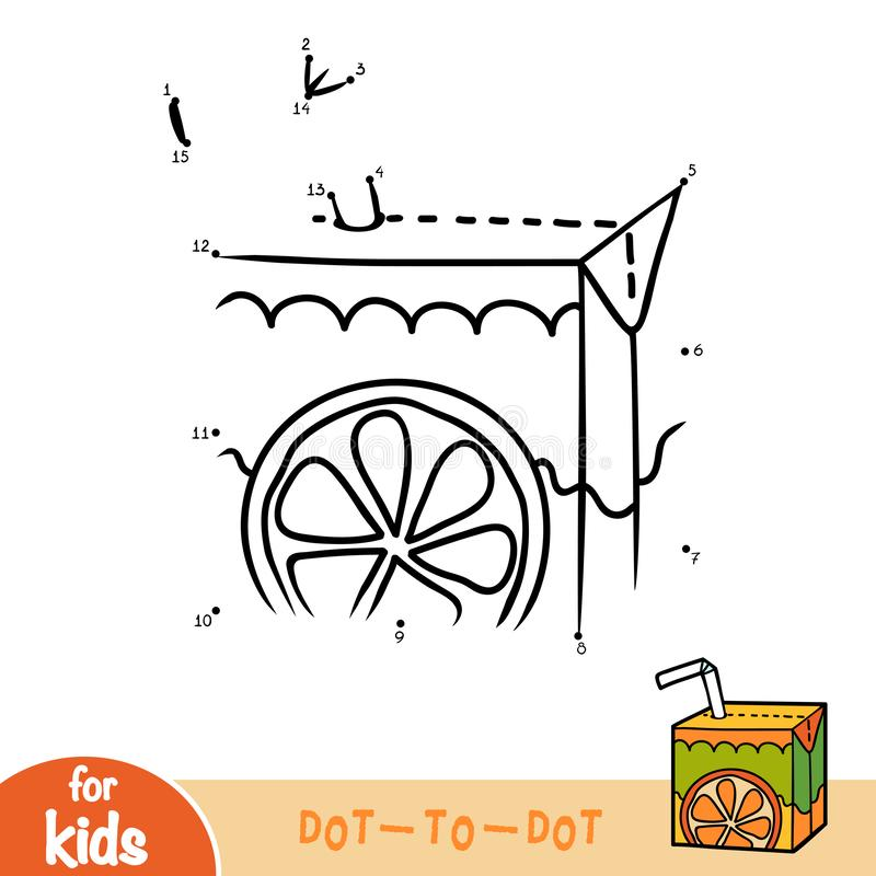 Numbers game, education dot to dot game, Juice box with straw. Numbers game, education dot to dot game for children, Juice box with straw stock illustration