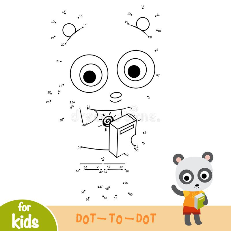Numbers game, education dot to dot game, Panda and book vector illustration