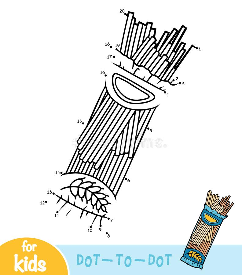 Numbers game, education dot to dot game, Pasta Spaghetti package royalty free illustration