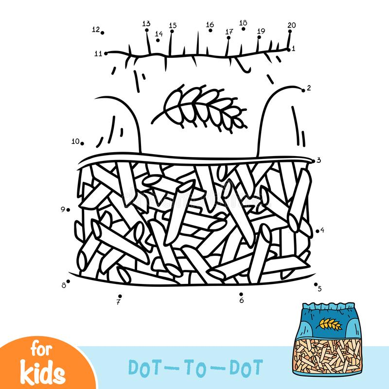 Numbers game, education dot to dot game, Penne pasta in bag stock illustration