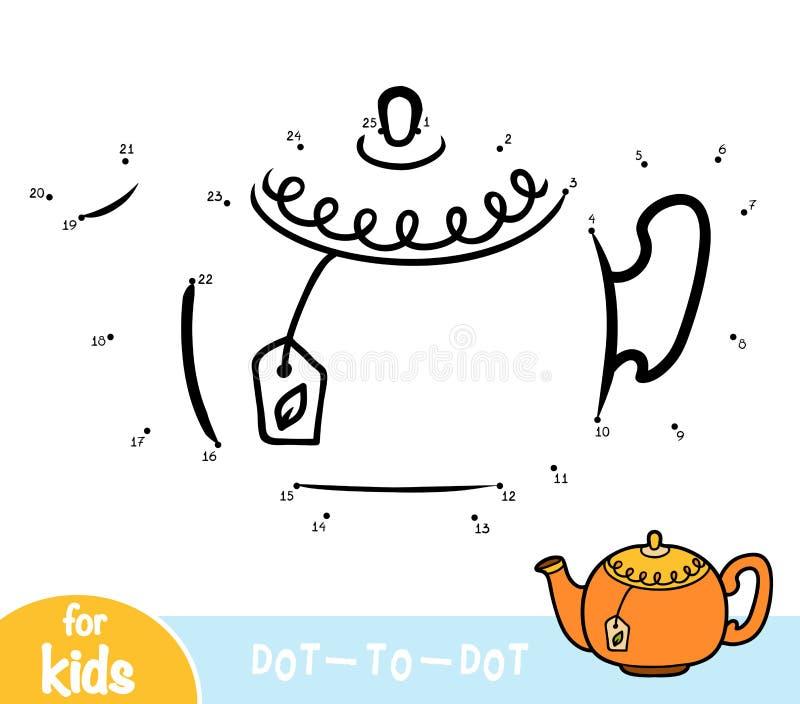 Numbers game, education dot to dot game, Teapot. Numbers game, education dot to dot game for children, Teapot royalty free illustration