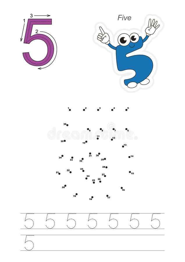 Numbers game for figure Five vector illustration