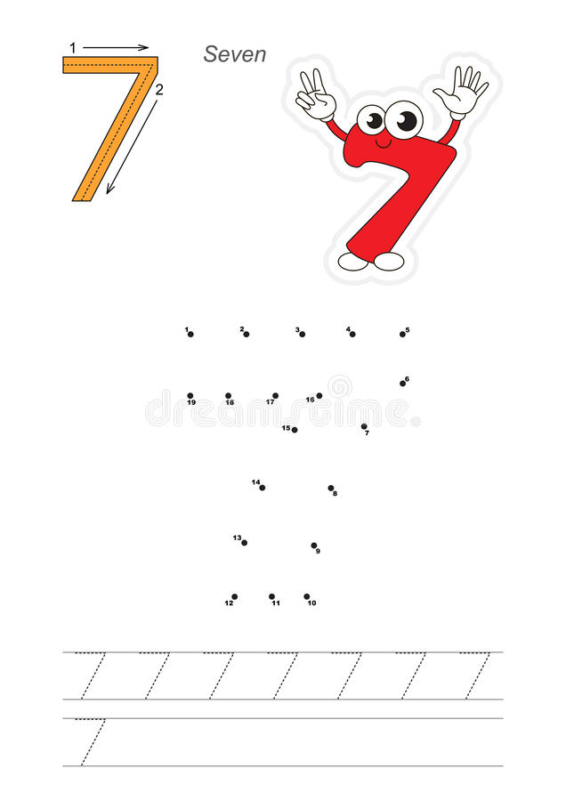Numbers game for figure Seven vector illustration